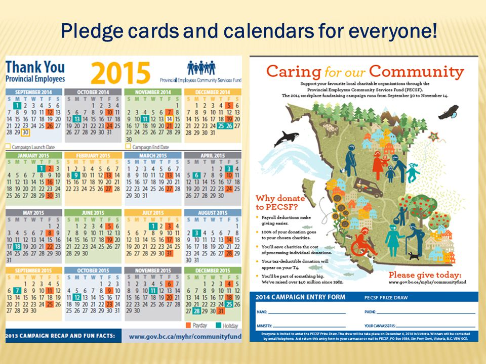 Pledge cards and calendars for everyone!