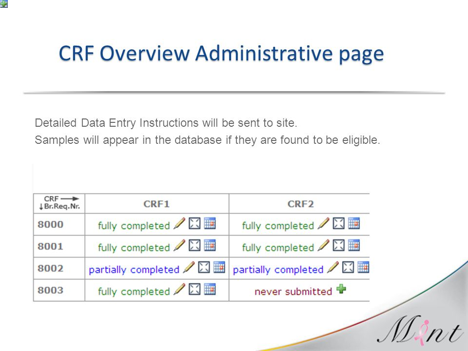 Detailed Data Entry Instructions will be sent to site. Samples will appear in the database if they are found to be eligible. CRF Overview Administrati