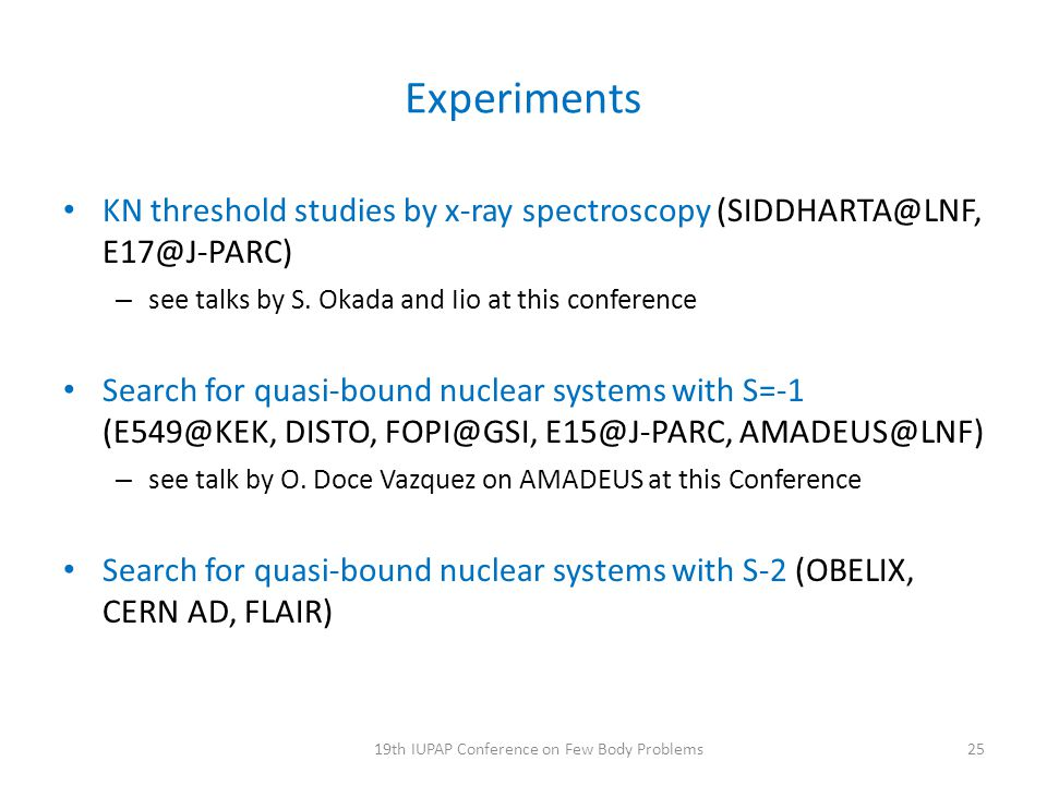 Experiments KN threshold studies by x-ray spectroscopy (SIDDHARTA@LNF, E17@J-PARC) – see talks by S. Okada and Iio at this conference Search for quasi