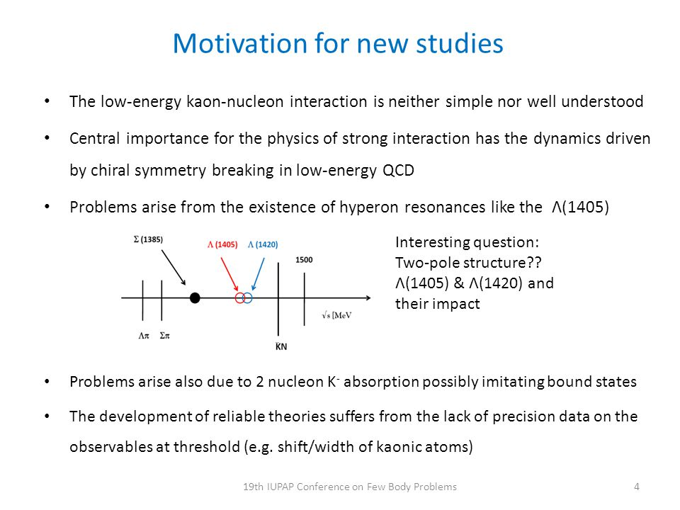 Motivation for new studies The low-energy kaon-nucleon interaction is neither simple nor well understood Central importance for the physics of strong