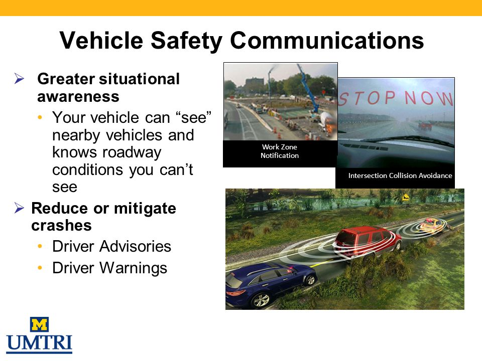 "Intersection Collision Avoidance Vehicle Safety Communications  Greater situational awareness Your vehicle can ""see"" nearby vehicles and knows roadwa"