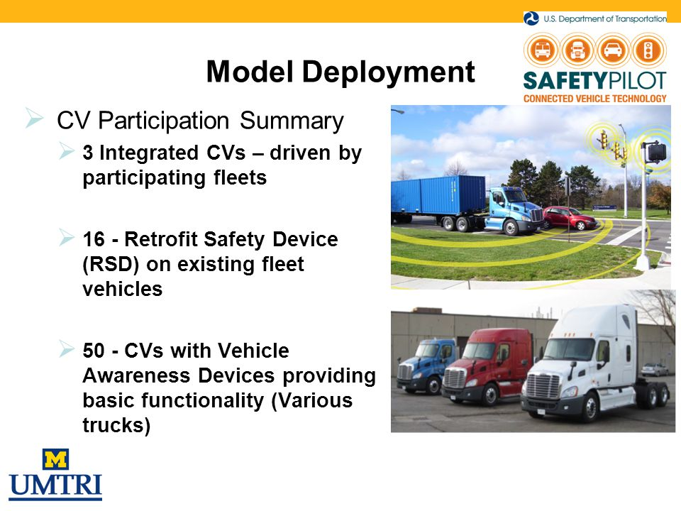 Model Deployment  CV Participation Summary  3 Integrated CVs – driven by participating fleets  16 - Retrofit Safety Device (RSD) on existing fleet