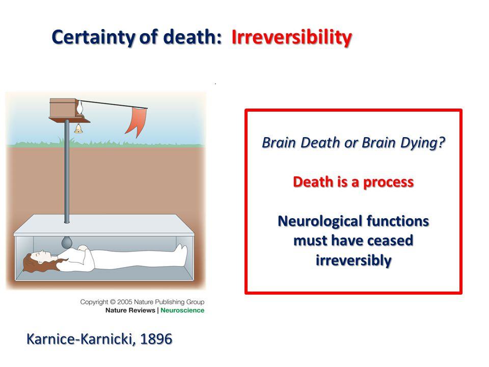 F Procaccio 2012 Certainty of death: Irreversibility Karnice-Karnicki, 1896 Brain Death or Brain Dying.