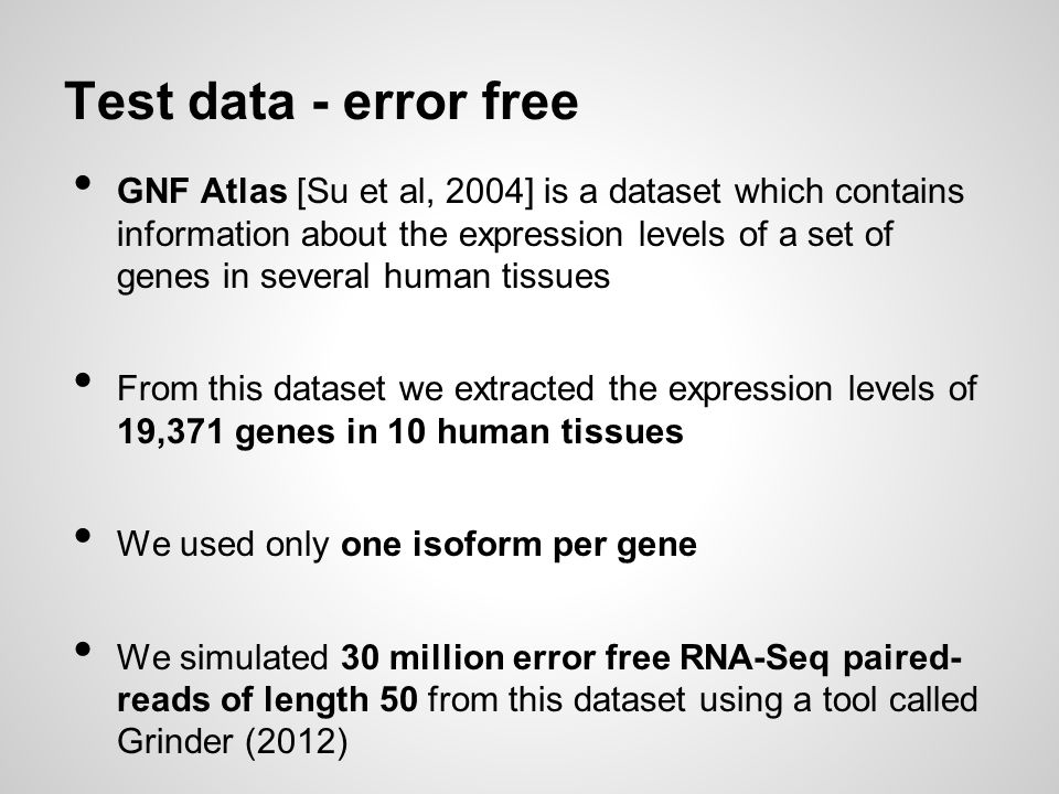 Test data - error free GNF Atlas [Su et al, 2004] is a dataset which contains information about the expression levels of a set of genes in several hum