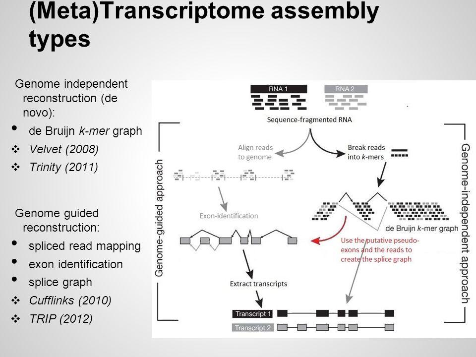 (Meta)Transcriptome assembly types Genome independent reconstruction (de novo): de Bruijn k-mer graph ❖ Velvet (2008) ❖ Trinity (2011) Genome guided r