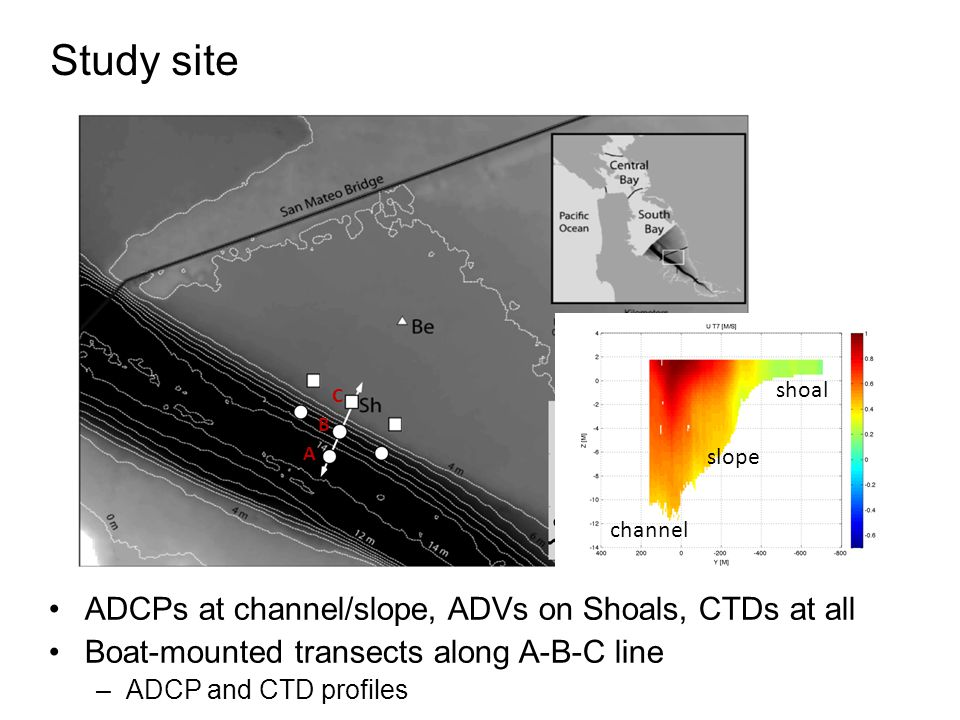 Study site ADCPs at channel/slope, ADVs on Shoals, CTDs at all Boat-mounted transects along A-B-C line –ADCP and CTD profiles A B C A B C channel slope shoal