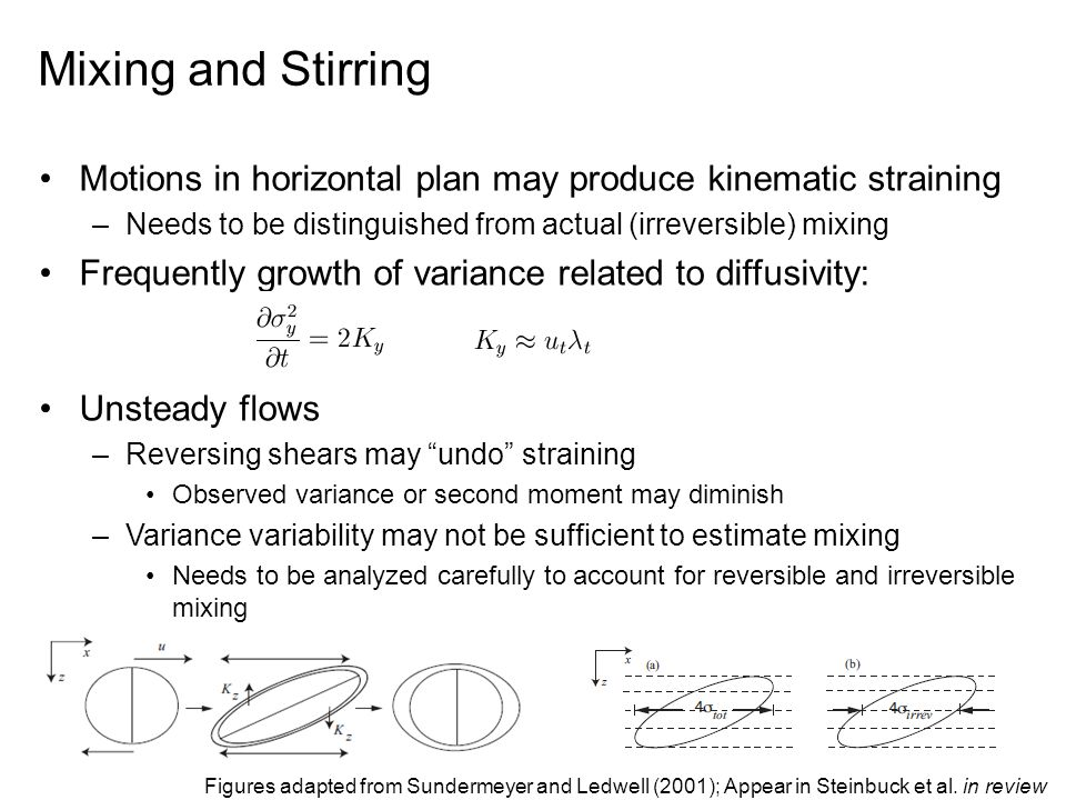 Mixing and Stirring Motions in horizontal plan may produce kinematic straining –Needs to be distinguished from actual (irreversible) mixing Frequently growth of variance related to diffusivity: Unsteady flows –Reversing shears may undo straining Observed variance or second moment may diminish –Variance variability may not be sufficient to estimate mixing Needs to be analyzed carefully to account for reversible and irreversible mixing Figures adapted from Sundermeyer and Ledwell (2001); Appear in Steinbuck et al.