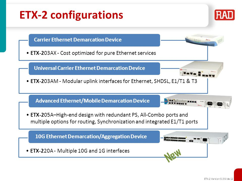 ETX-2 Version 5.0 Slide 13 2G, 3G, 4G LTE eNB E1 GE Intelligent Demarcation Solutions Solution benefits Unified service offering over any access infrastructure FE, GE, 10G as well as E1/T1/T3 user interfaces (Integrated or with Smart SFPs) HW based SAA tools for Accurate and scalable SLA assurance Painless integration and operation – simple provisioning and network management Variety of units and ordering options for reduced Total Cost of Ownership (TCO) IP DSLAM Customer HQ Service Provider Network PDH/SDH Customer Premises FE/GbE RNC/4G Gateway RADview – EMS & Service Center ETX-2 Service Assured Access (SAA) Service Activation, PM, FM, Resiliency, Synchronization 1/10GbE GbE ETX-2 Nx1/10GbE ETX-5 SHDSL ETX-2