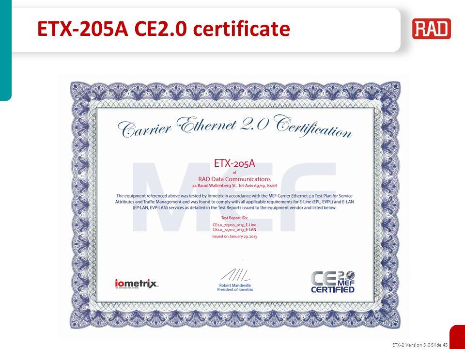 ETX-2 Version 5.0 Slide 46 ETX-203AX CE2.0 certificate