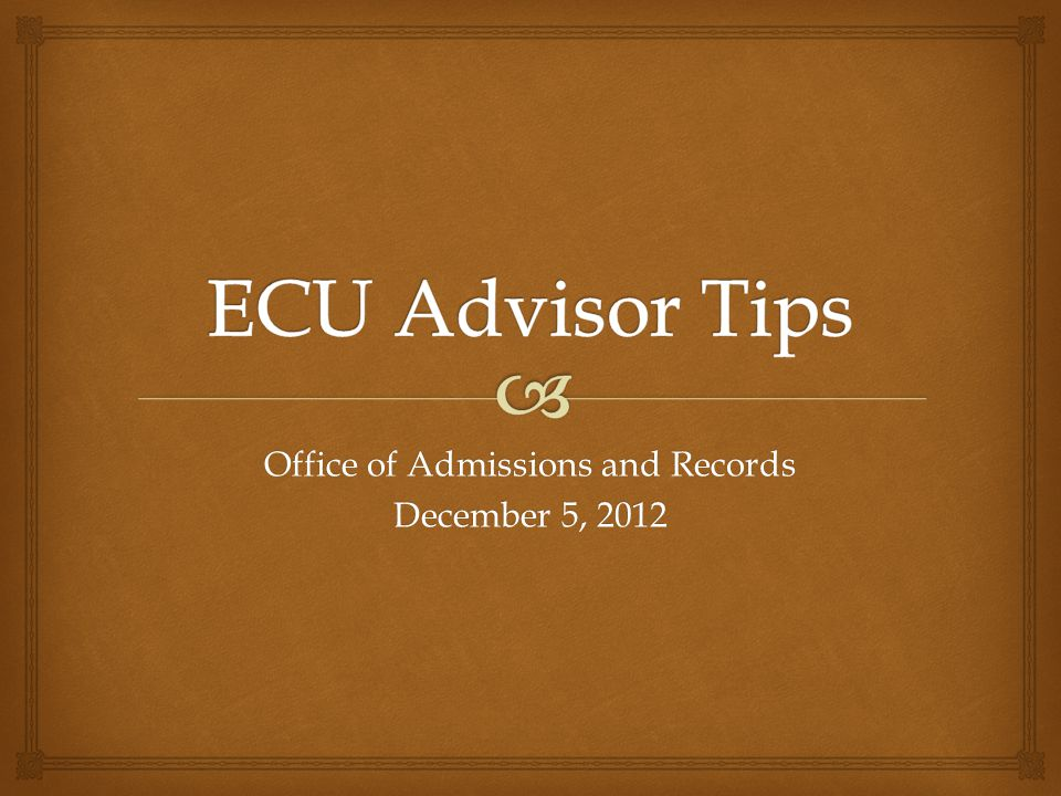 Office of Admissions and Records December 5, 2012
