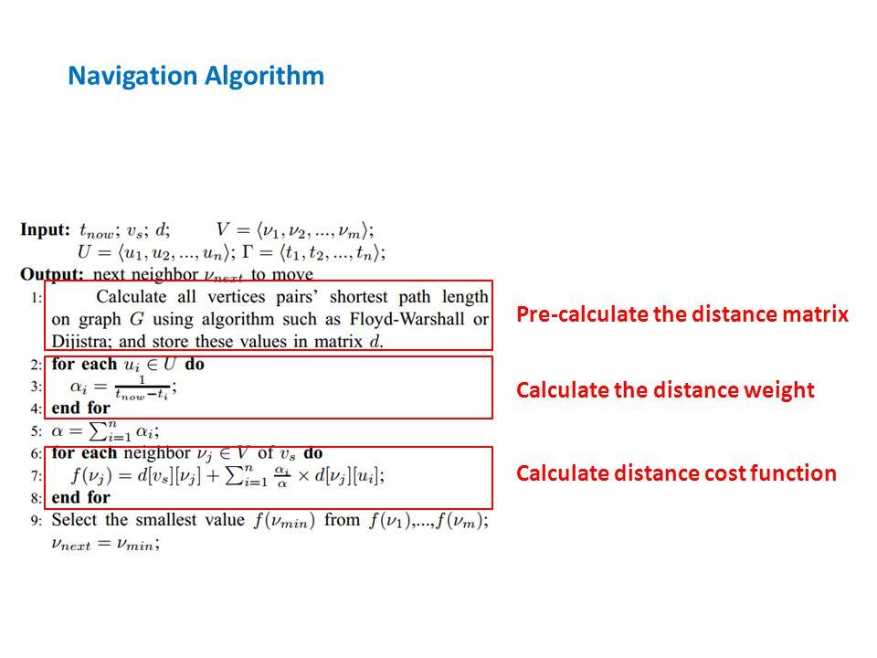 Pre-calculate the distance matrix Calculate the distance weight Calculate distance cost function Navigation Algorithm