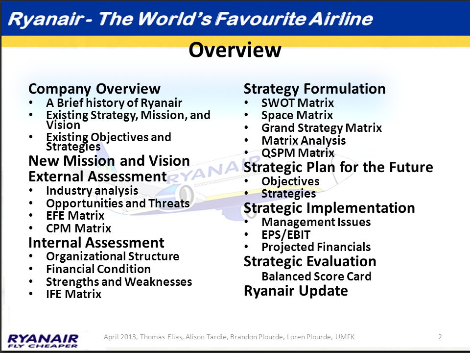 rynair analysis Ryanair airlines transportation ryan air case study 10 introduction ryanair was set up by the ryan family in 1985 the company went public in 1997 and the ryan's subsequently sold the bulk of their.