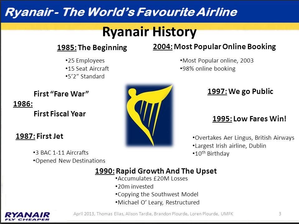 """Ryanair History 3April 2013, Thomas Elias, Alison Tardie, Brandon Plourde, Loren Plourde, UMFK 1985: The Beginning First """"Fare War"""" 1986: First Fiscal"""
