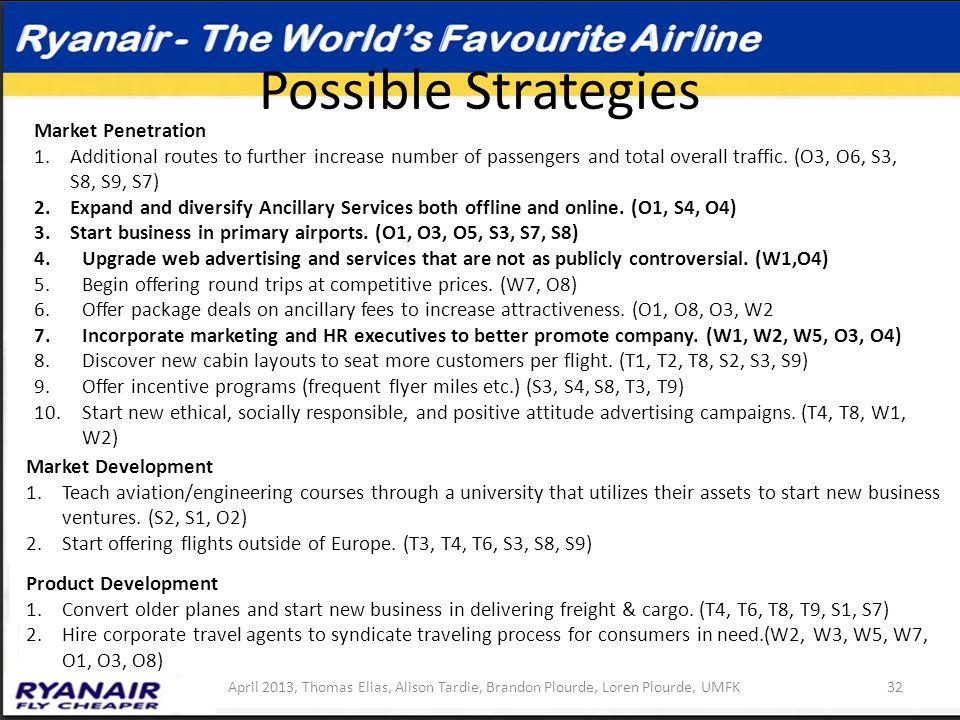 Possible Strategies 32April 2013, Thomas Elias, Alison Tardie, Brandon Plourde, Loren Plourde, UMFK Market Penetration 1.Additional routes to further