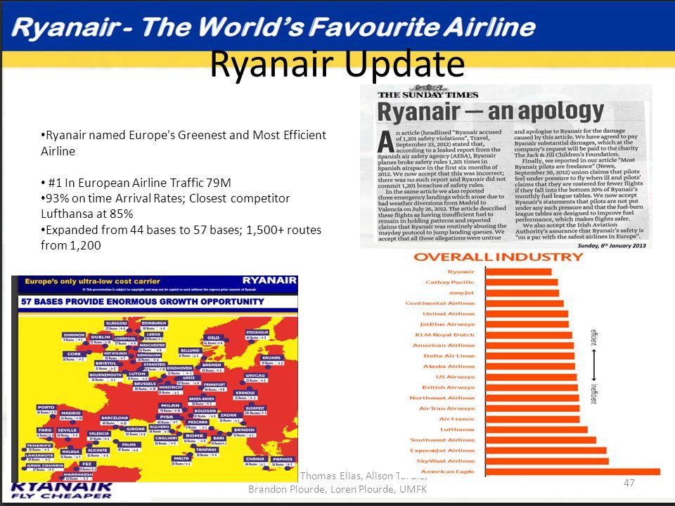 Ryanair Update April 2013, Thomas Elias, Alison Tardie, Brandon Plourde, Loren Plourde, UMFK 47 Ryanair named Europe's Greenest and Most Efficient Air