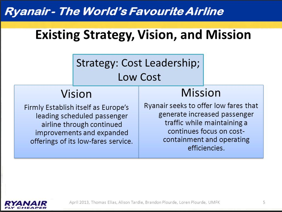 Existing Strategy, Vision, and Mission Vision Firmly Establish itself as Europe's leading scheduled passenger airline through continued improvements a