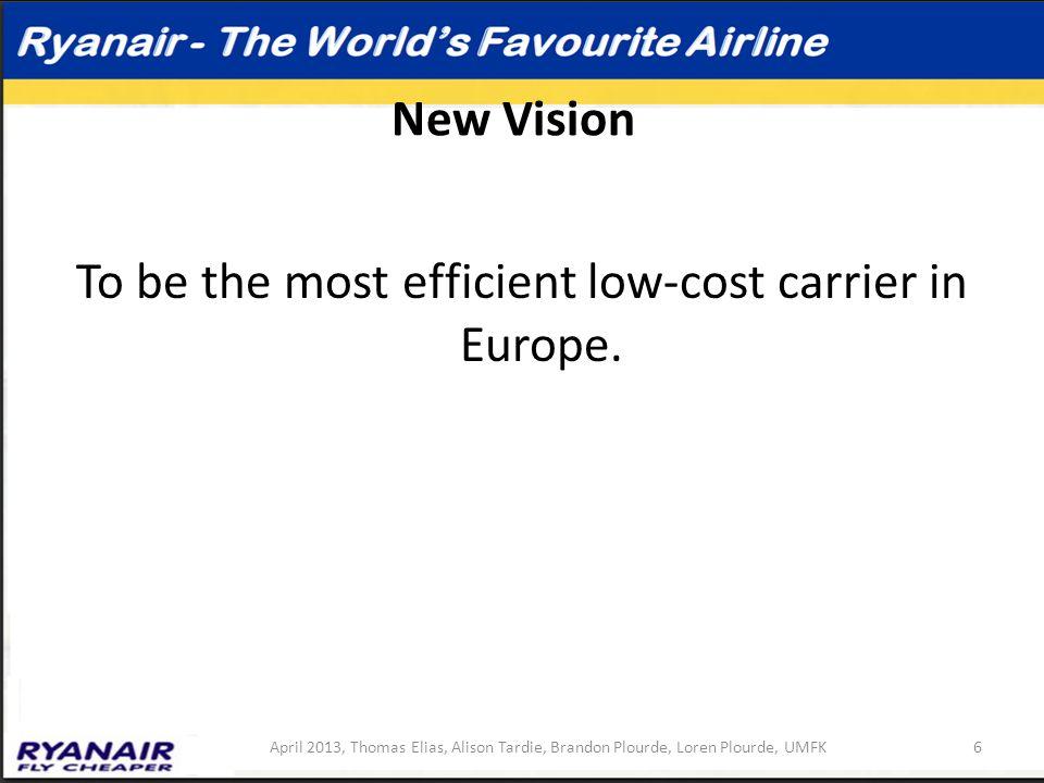 New Vision To be the most efficient low-cost carrier in Europe. 6April 2013, Thomas Elias, Alison Tardie, Brandon Plourde, Loren Plourde, UMFK