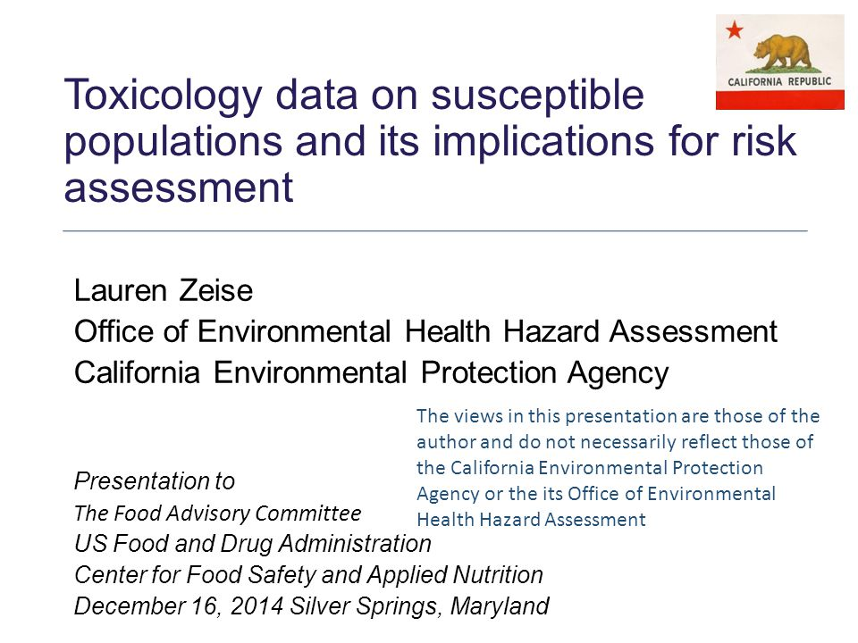 Outline Human variability, susceptibility and population risk Toxicology data-based approaches to address susceptibility generically Case examples of approach to susceptible populations in regulatory advice Emerging data stream example 2