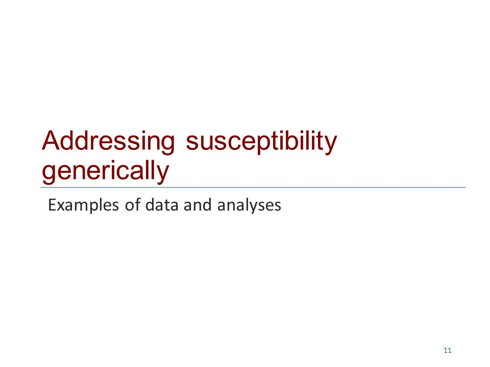 Addressing susceptibility generically 11 Examples of data and analyses