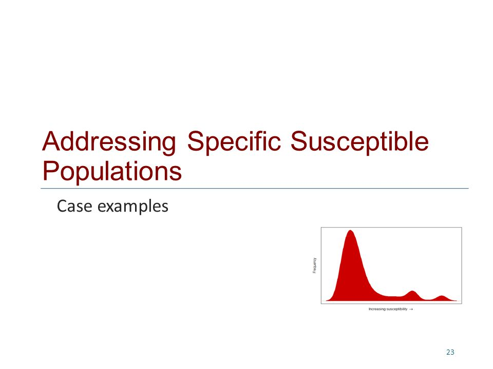 Addressing Specific Susceptible Populations 23 Case examples