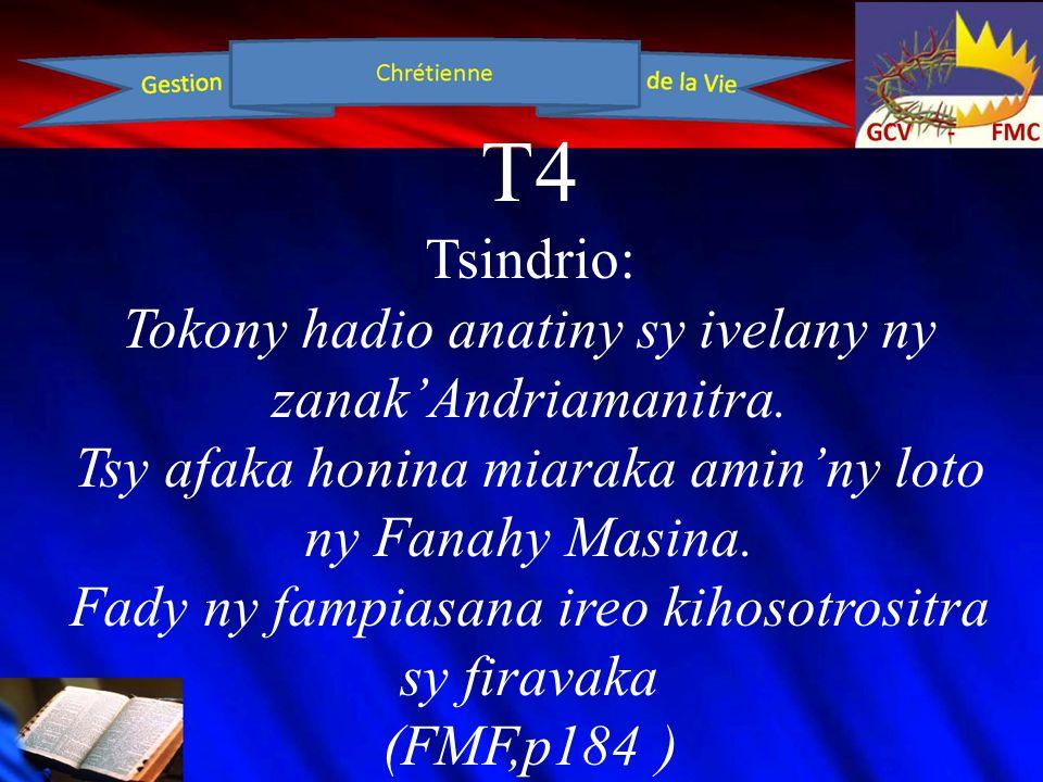 T4 Tsindrio: Misy tsipika mampisaraka ny zanak'Andriamanitra sy ny olon'izao tontolo izao.