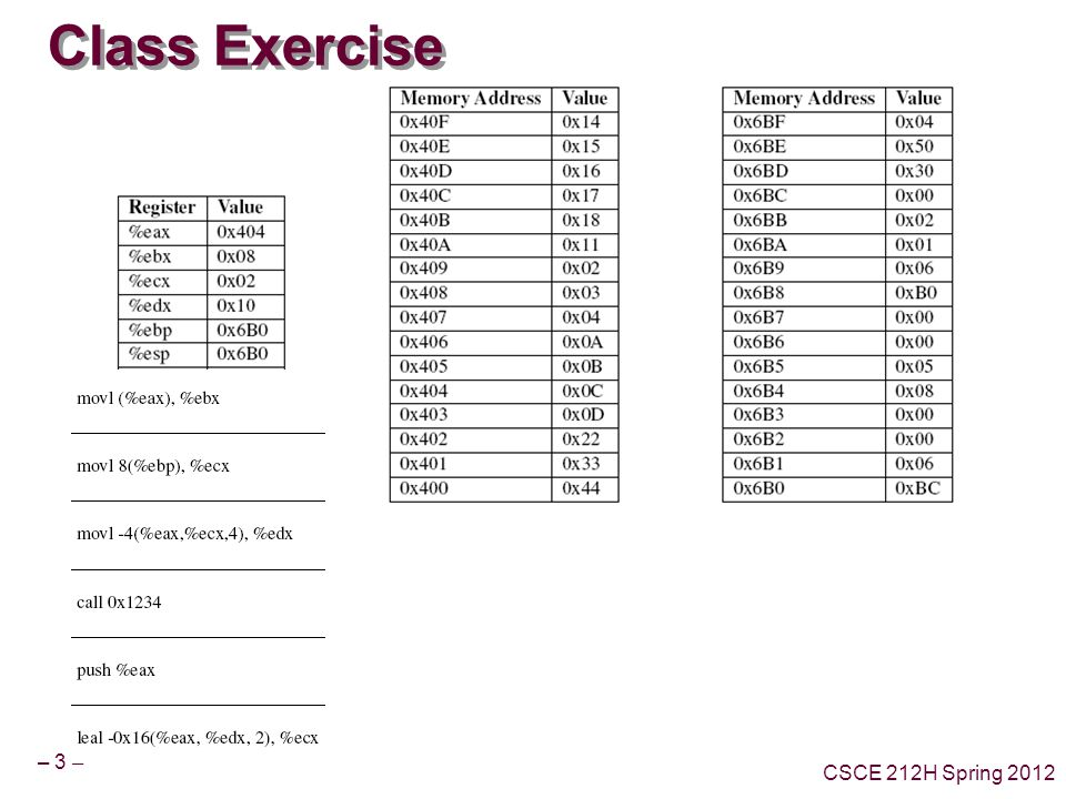 – 3 – CSCE 212H Spring 2012 Class Exercise