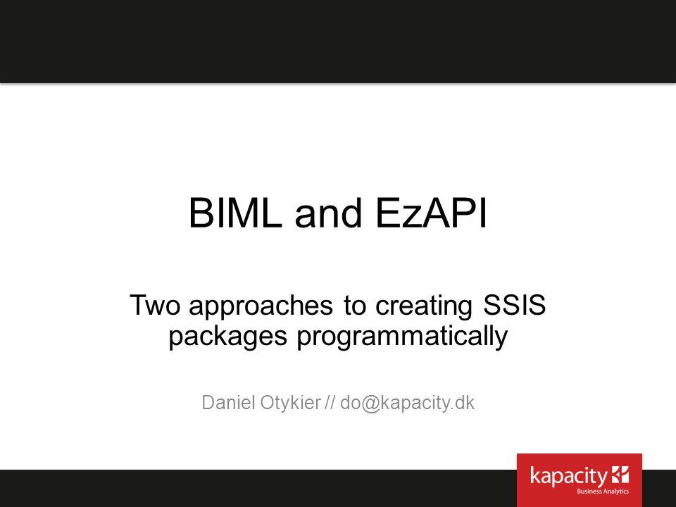 BIML references BIML has an active user community: Varigence.com http://www.varigence.com/Documentation/Samples/Biml http://www.varigence.com/Documentation/Samples/Biml BIMLScript.com http://www.bimlscript.com/Browse/Snippets http://www.bimlscript.com/Browse/Snippets bidshelper.codeplex.com: http://bidshelper.codeplex.com/wikipage?title=Samples%20and%20Tutorials http://bidshelper.codeplex.com/wikipage?title=Samples%20and%20Tutorials
