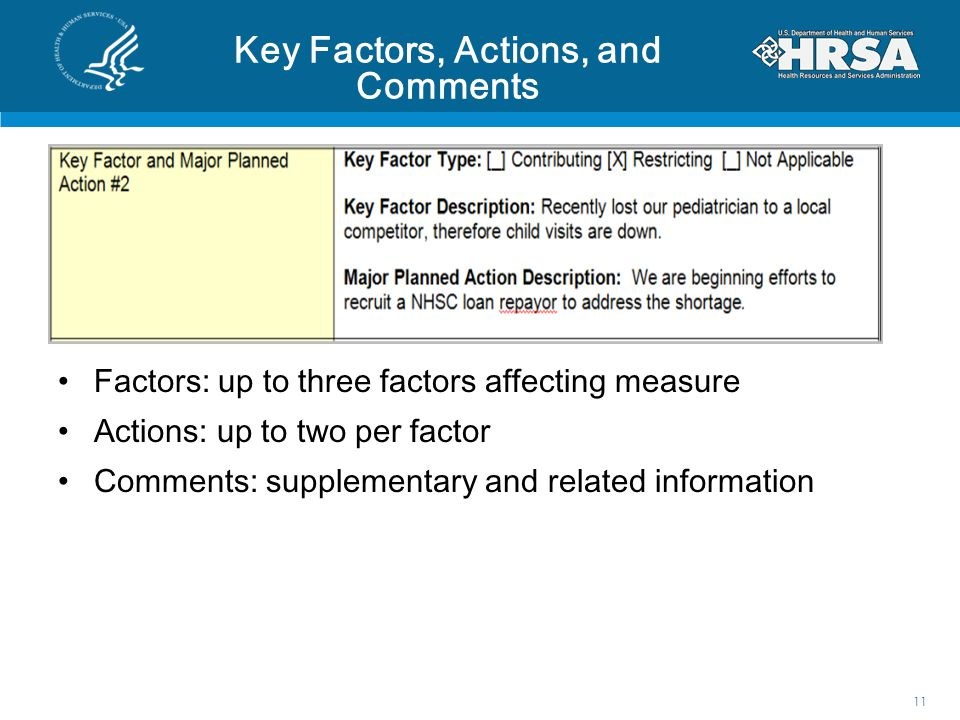 Key Factors, Actions, and Comments Factors: up to three factors affecting measure Actions: up to two per factor Comments: supplementary and related information 11