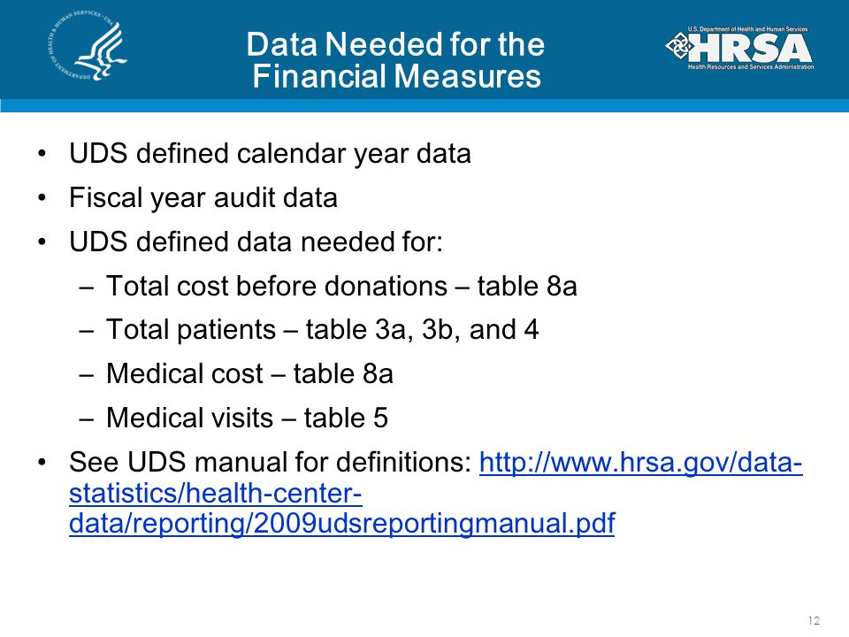Data Needed for the Financial Measures UDS defined calendar year data Fiscal year audit data UDS defined data needed for: –Total cost before donations – table 8a –Total patients – table 3a, 3b, and 4 –Medical cost – table 8a –Medical visits – table 5 See UDS manual for definitions: http://www.hrsa.gov/data- statistics/health-center- data/reporting/2009udsreportingmanual.pdfhttp://www.hrsa.gov/data- statistics/health-center- data/reporting/2009udsreportingmanual.pdf 12