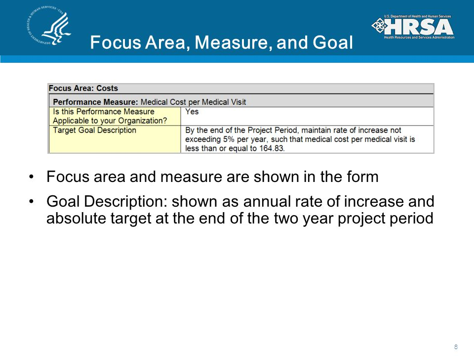 Focus Area, Measure, and Goal Focus area and measure are shown in the form Goal Description: shown as annual rate of increase and absolute target at the end of the two year project period 8