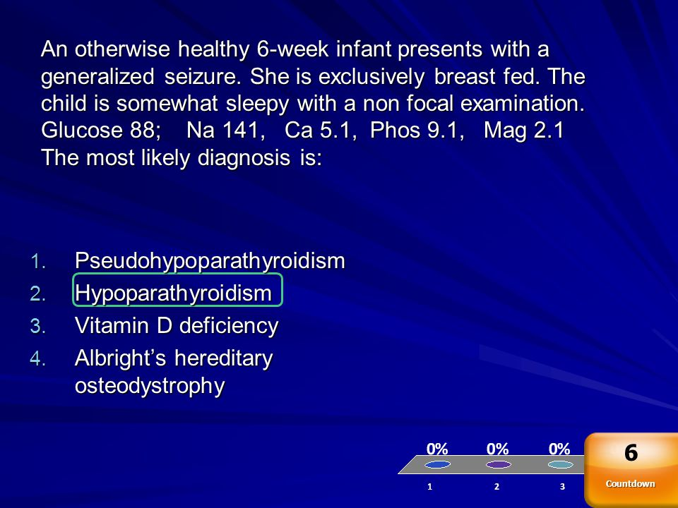 An otherwise healthy 6-week infant presents with a generalized seizure. She is exclusively breast fed. The child is somewhat sleepy with a non focal e