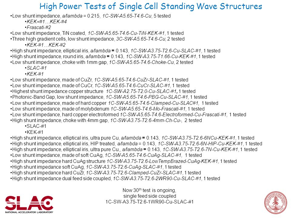 High Power Tests of Single Cell Standing Wave Structures Low shunt impedance, a/lambda = 0.215, 1C-SW-A5.65-T4.6-Cu, 5 tested KEK=#1…KEK-#4 Frascati-#2 Low shunt impedance, TiN coated, 1C-SW-A5.65-T4.6-Cu-TiN-KEK-#1, 1 tested Three high gradient cells, low shunt impedance, 3C-SW-A5.65-T4.6-Cu, 2 tested KEK-#1…KEK-#2 High shunt impedance, elliptical iris, a/lambda = 0.143, 1C-SW-A3.75-T2.6-Cu-SLAC-#1, 1 tested High shunt impedance, round iris, a/lambda = 0.143, 1C-SW-A3.75-T1.66-Cu-KEK-#1, 1 tested Low shunt impedance, choke with 1mm gap, 1C-SW-A5.65-T4.6-Choke-Cu, 2 tested SLAC-#1 KEK-#1 Low shunt impedance, made of CuZr, 1C-SW-A5.65-T4.6-CuZr-SLAC-#1, 1 tested Low shunt impedance, made of CuCr, 1C-SW-A5.65-T4.6-CuCr-SLAC-#1, 1 tested Highest shunt impedance copper structure 1C-SW-A2.75-T2.0-Cu-SLAC-#1, 1 tested Photonic-Band Gap, low shunt impedance, 1C-SW-A5.65-T4.6-PBG-Cu-SLAC-#1, 1 tested Low shunt impedance, made of hard copper 1C-SW-A5.65-T4.6-Clamped-Cu-SLAC#1, 1 tested Low shunt impedance, made of molybdenum 1C-SW-A5.65-T4.6-Mo-Frascati-#1, 1 tested Low shunt impedance, hard copper electroformed 1C-SW-A5.65-T4.6-Electroformed-Cu-Frascati-#1, 1 tested High shunt impedance, choke with 4mm gap, 1C-SW-A3.75-T2.6-4mm-Ch-Cu-, 2 tested SLAC-#1 KEK-#1 High shunt impedance, elliptical iris, ultra pure Cu, a/lambda = 0.143, 1C-SW-A3.75-T2.6-6NCu-KEK-#1, 1 tested High shunt impedance, elliptical iris, HIP treated, a/lambda = 0.143, 1C-SW-A3.75-T2.6-6N-HIP-Cu-KEK-#1, 1 tested High shunt impedance, elliptical iris, ultra pure Cu,, a/lambda = 0.143, 1C-SW-A3.75-T2.6-7N-Cu-KEK-#1, 1 tested Low shunt impedance, made of soft CuAg, 1C-SW-A5.65-T4.6-CuAg-SLAC-#1, 1 tested High shunt impedance hard CuAg structure 1C-SW-A3.75-T2.6-LowTempBrazed-CuAg-KEK-#1, 1 tested High shunt impedance soft CuAg, 1C-SW-A3.75-T2.6-CuAg-SLAC-#1, 1 tested High shunt impedance hard CuZr, 1C-SW-A3.75-T2.6-Clamped-CuZr-SLAC-#1, 1 tested High shunt impedance dual feed side coupled, 1C-SW-A3.75-T2.6-2WR90-Cu-SLAC-#1, 1 tested Now 30 th test is ongoing, single feed side coupled 1C-SW-A3.75-T2.6-1WR90-Cu-SLAC-#1