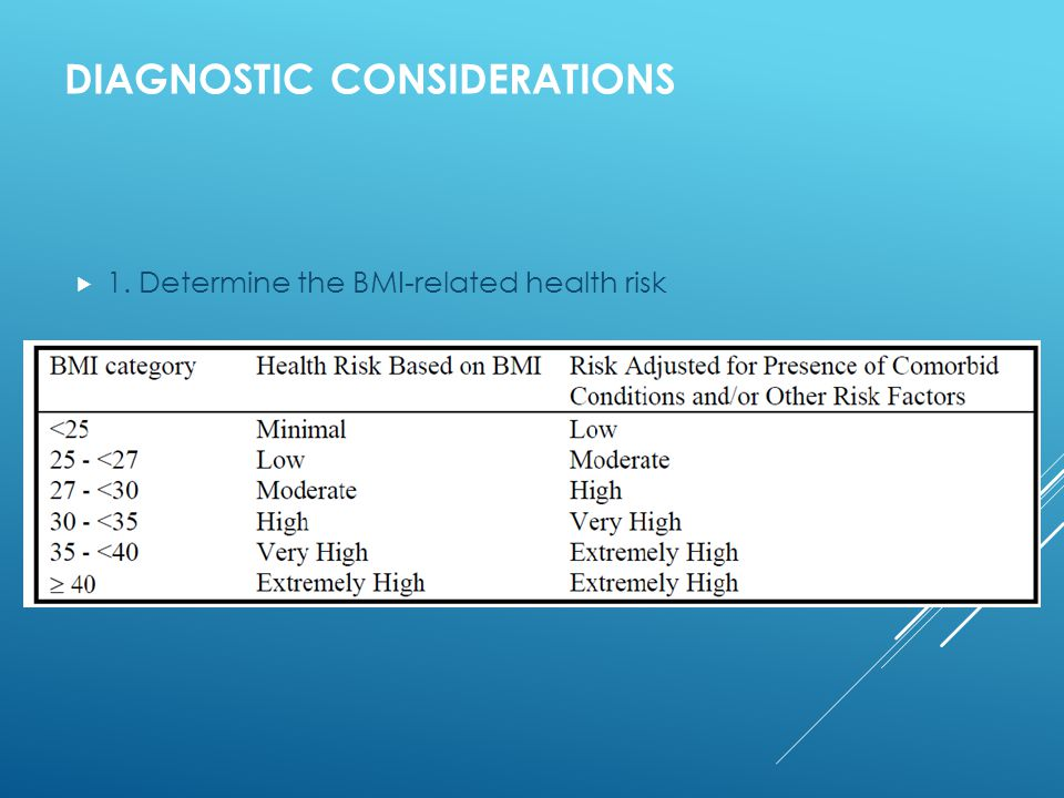 DIAGNOSTIC CONSIDERATIONS  1. Determine the BMI-related health risk