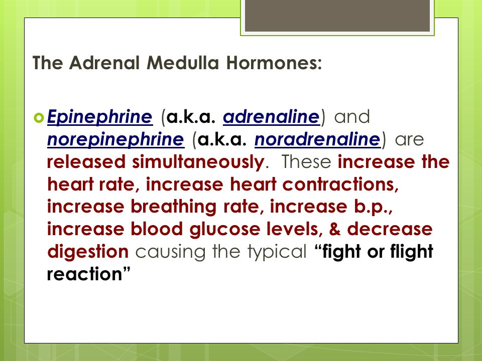 The Adrenal Medulla Hormones:  Epinephrine ( a.k.a.