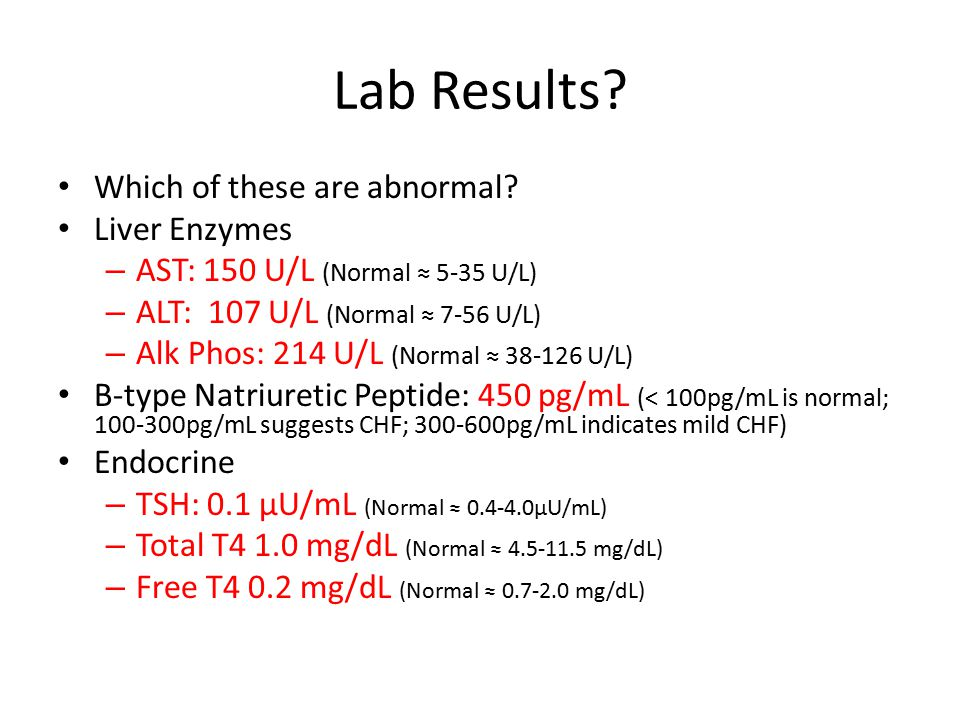 Lab Results. Which of these are abnormal.