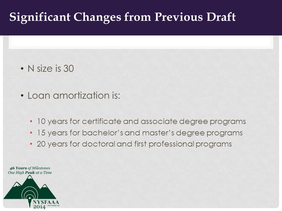 IMPROVEMENTS FROM PREVIOUS DRAFT N size is 30 Loan amortization is: 10 years for certificate and associate degree programs 15 years for bachelor's and master's degree programs 20 years for doctoral and first professional programs 11 Significant Changes from Previous Draft