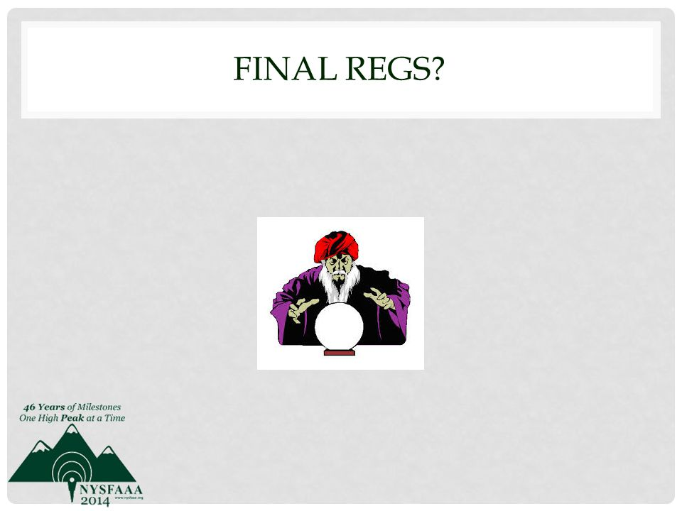 FINAL REGS?