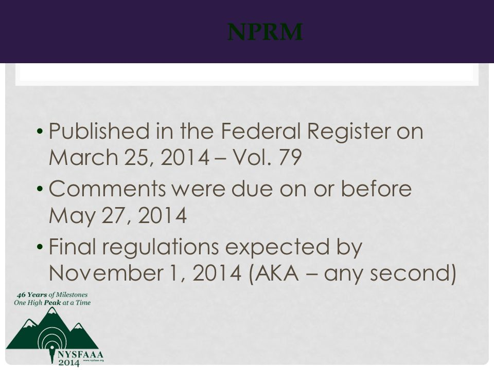 NPRM Published in the Federal Register on March 25, 2014 – Vol.