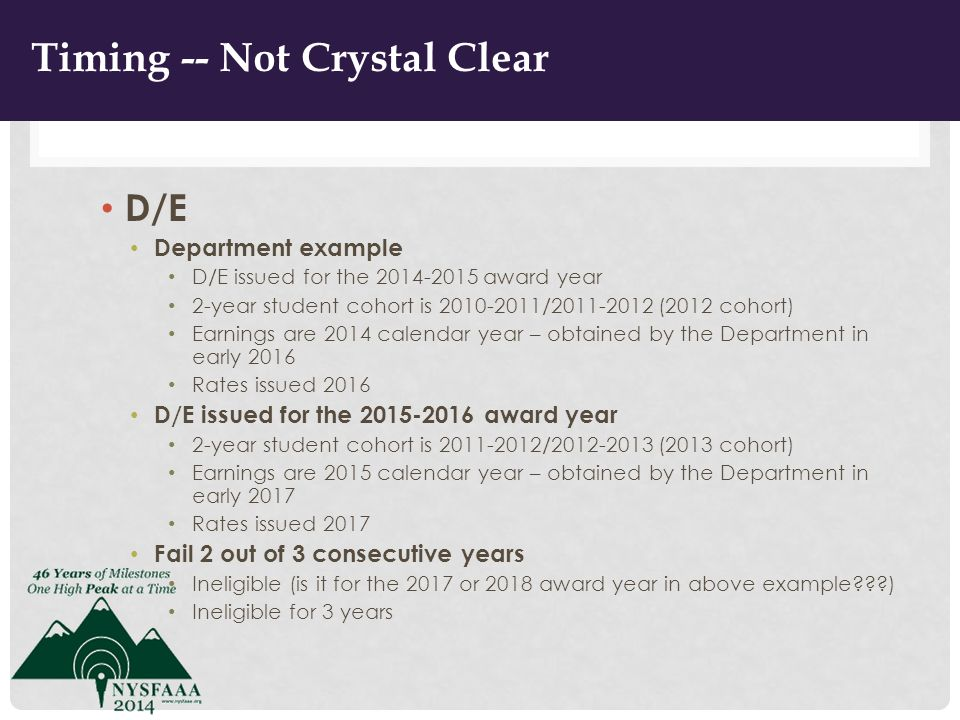TIMING – NOT CRYSTAL CLEAR D/E Department example D/E issued for the 2014-2015 award year 2-year student cohort is 2010-2011/2011-2012 (2012 cohort) Earnings are 2014 calendar year – obtained by the Department in early 2016 Rates issued 2016 D/E issued for the 2015-2016 award year 2-year student cohort is 2011-2012/2012-2013 (2013 cohort) Earnings are 2015 calendar year – obtained by the Department in early 2017 Rates issued 2017 Fail 2 out of 3 consecutive years Ineligible (is it for the 2017 or 2018 award year in above example ) Ineligible for 3 years 9 Timing -- Not Crystal Clear