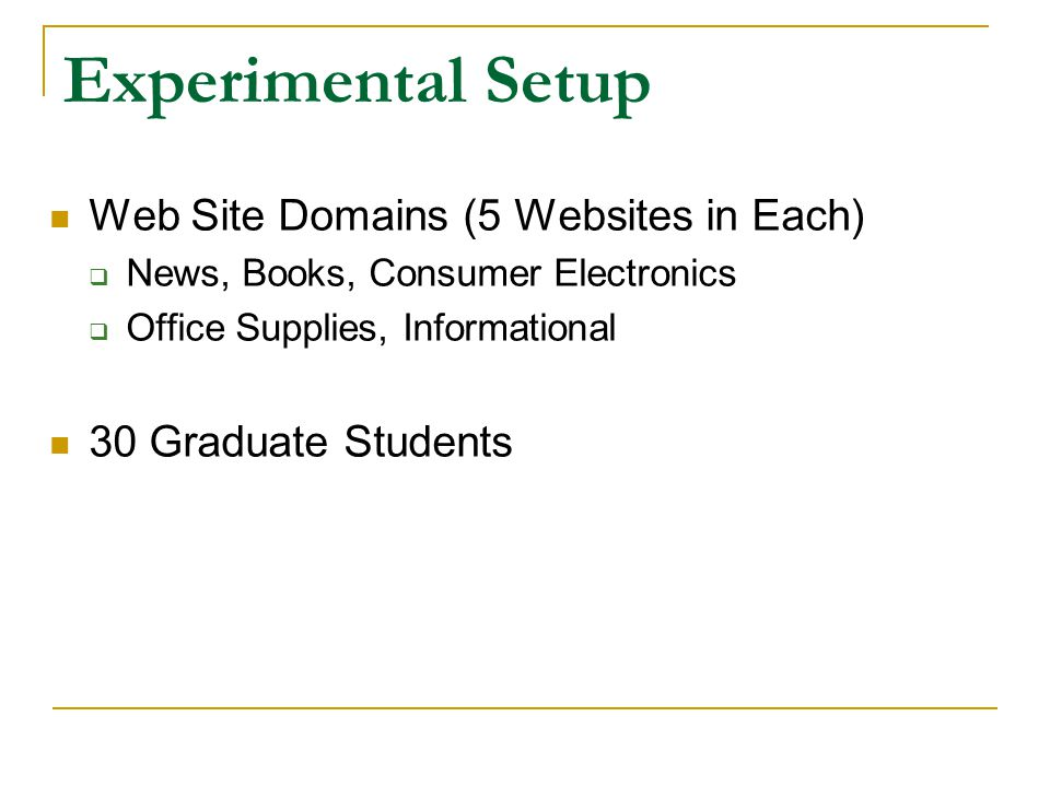 Experimental Setup Web Site Domains (5 Websites in Each)  News, Books, Consumer Electronics  Office Supplies, Informational 30 Graduate Students
