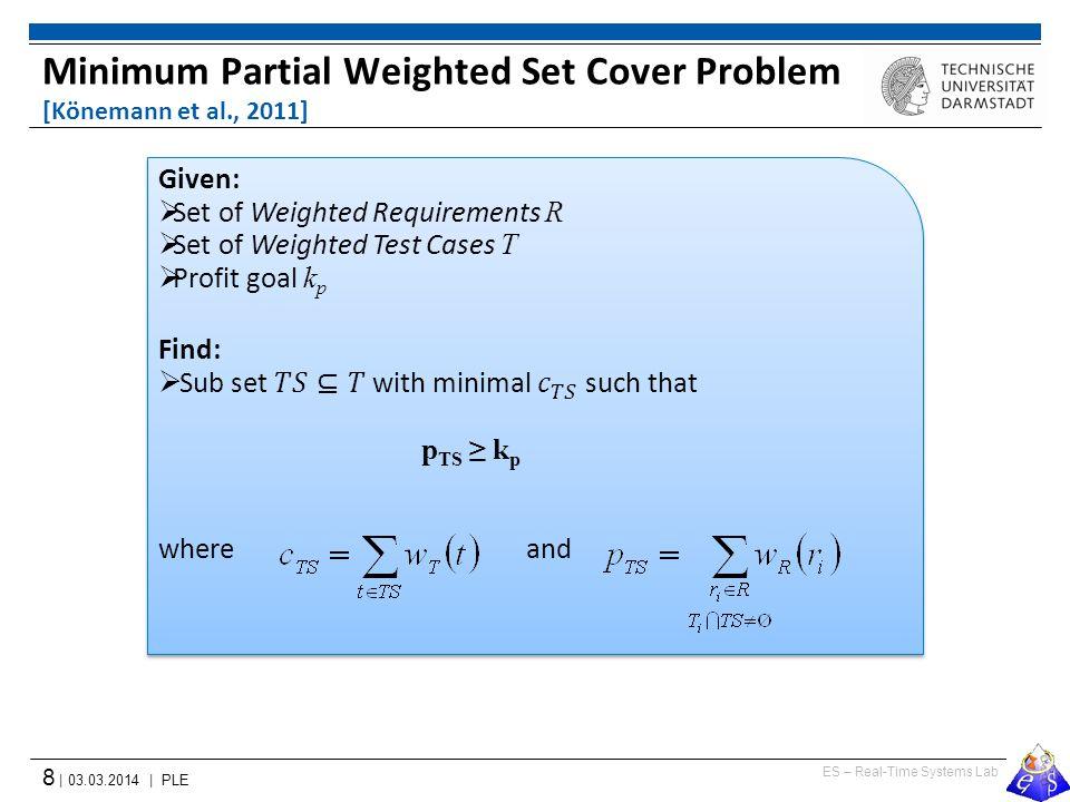 ES – Real-Time Systems Lab 8 | 03.03.2014 | PLE Minimum Partial Weighted Set Cover Problem [Könemann et al., 2011]