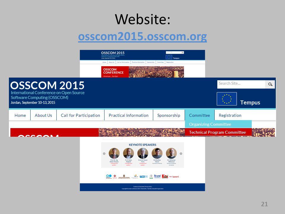 Website: osscom2015.osscom.org 21