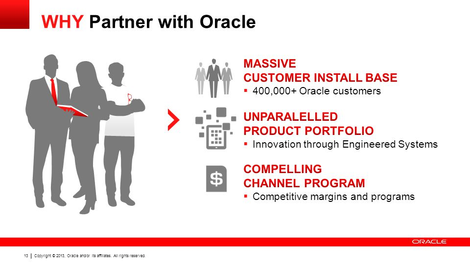Copyright © 2013, Oracle and/or its affiliates. All rights reserved. 13 WHY Partner with Oracle