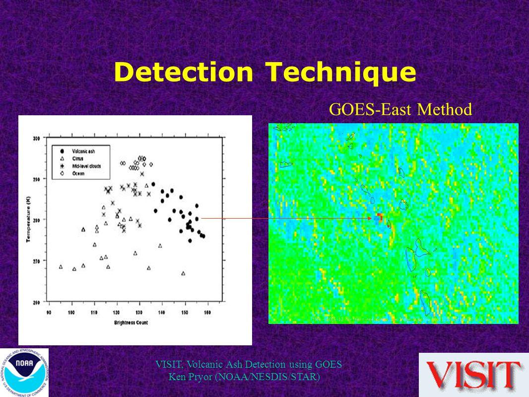VISIT, Volcanic Ash Detection using GOES Ken Pryor (NOAA/NESDIS/STAR) Detection Technique GOES-East Method