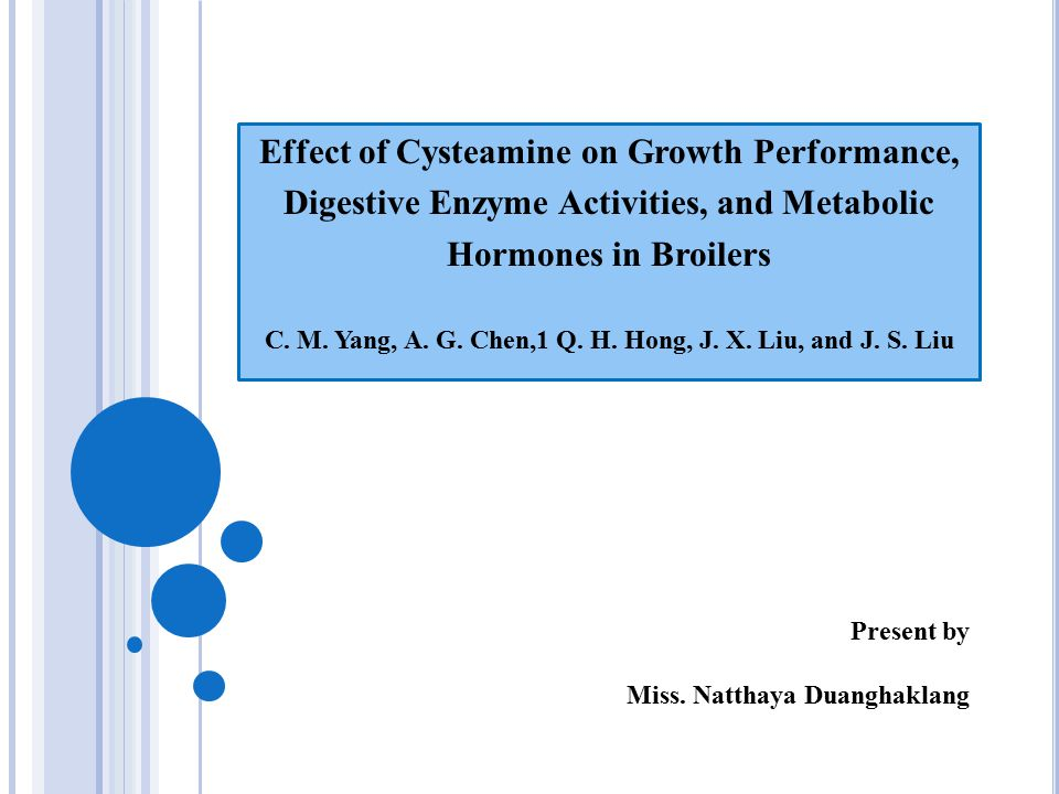 Effect of Cysteamine on Growth Performance, Digestive Enzyme Activities, and Metabolic Hormones in Broilers C.