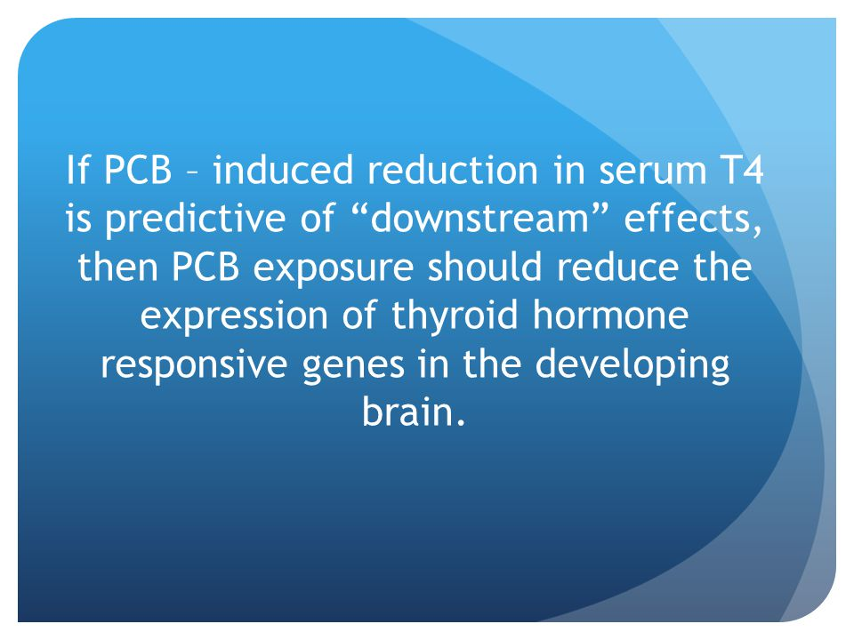 If PCB – induced reduction in serum T4 is predictive of downstream effects, then PCB exposure should reduce the expression of thyroid hormone responsive genes in the developing brain.