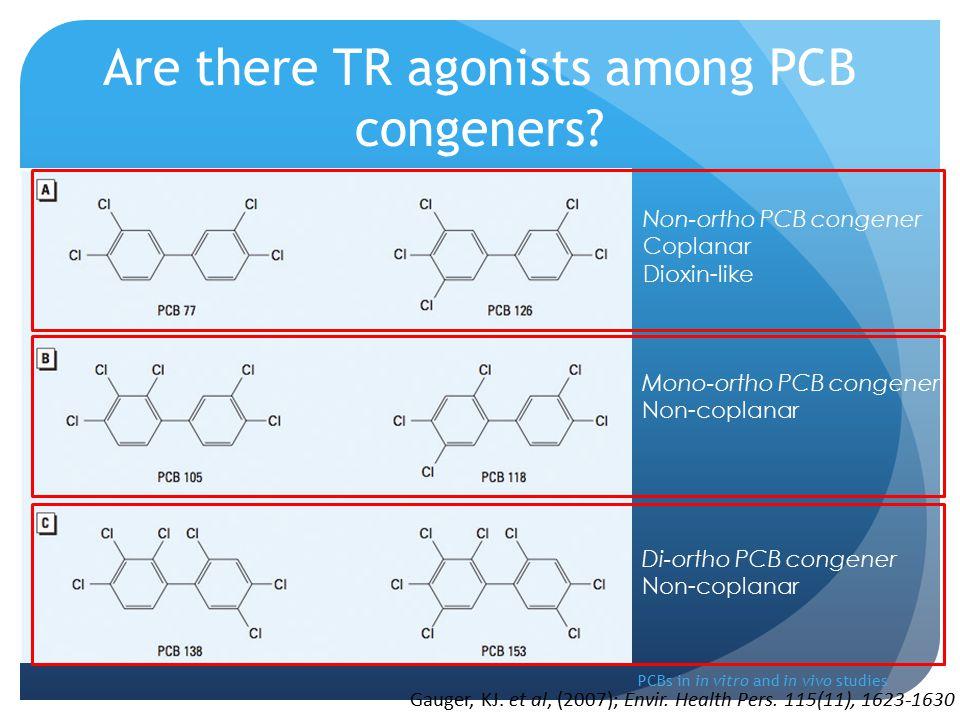 PCBs in in vitro and in vivo studies Non-ortho PCB congener Coplanar Dioxin-like Mono-ortho PCB congener Non-coplanar Di-ortho PCB congener Non-coplanar Gauger, KJ.