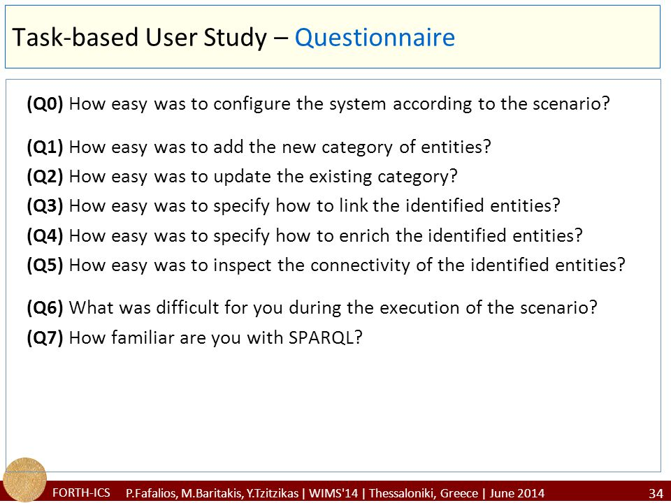 FORTH-ICS Task-based User Study – Questionnaire (Q0) How easy was to configure the system according to the scenario.