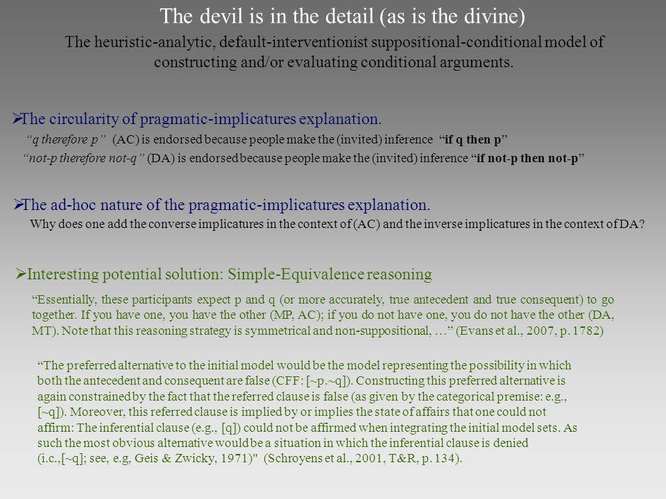  The circularity of pragmatic-implicatures explanation.