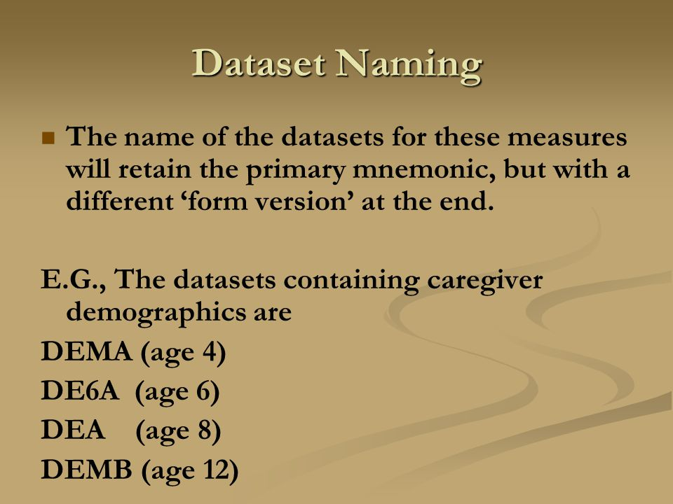 Dataset Naming The name of the datasets for these measures will retain the primary mnemonic, but with a different 'form version' at the end.